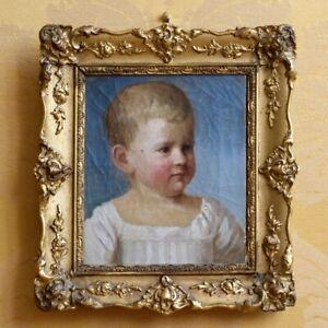 Tableau ancien - Portrait d'enfant - Huile sur toile - École du XIXe siècle 19e