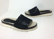 New $120 Earthies Crete size 7 Black Shimmer Lizard Leather Slide Sandals