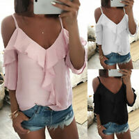 HOT Womens Cold Shoulder Ruffle Backless T-Shirt Ladies Summer Beach Tops Blouse