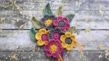 Crochet Flowers and Leaves Crafts Cards Scrapbooking Applique Decoration 5.5cm