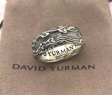 David Yurman 925 Sterling Silver 9 mm Waves Narrow Band Men's Ring Size 9.75