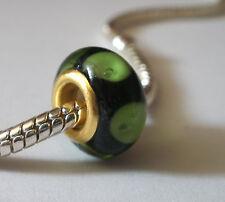 Edler Glas Bead Farben Schwarz Grün Gold für Armband  0313