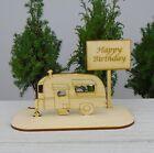 Happy Birthday Wohnwagen aus Holz Geldgeschenk  Gutscheingeschenk Geburtstag
