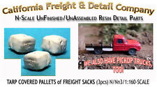 TARP COVERED PALLETED SACKS (3pcs) N/1:160-Scale Craftsman CAL FREIGHT & Details
