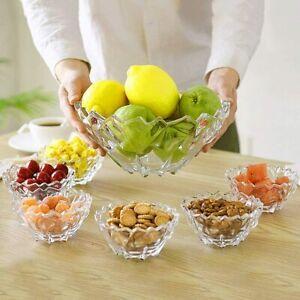 7pc Crystal Clear Glass Bowl Set Dessert Serving Bowls Fruit Salad Ice Cream NEW