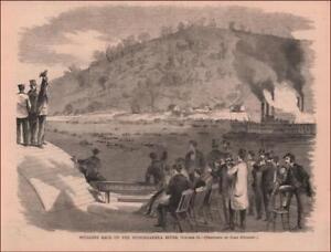 PITTSBURGH SCULLING RACE, ROWING 5 MILES, MONONGAHELA, antique engraving 1867