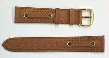 Speidel 18mm Brown/Tan Genuine Leather Spinnaker Watch Band-Gold Tone Buckle NOS
