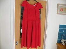SIZE 12 RED MONSOON DRESS CAP SLEEVES CREW NECK 100% VISCOSE-LINED 179