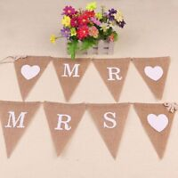 Heart Party Love Decor Hessian Wedding Banner Burlap Bunting Mr & Mrs