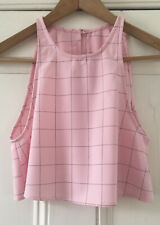 American Apparel Women's Pink Checked Open-Back Sleeveless Cropped Top XS UK 4-6