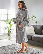 SIMPLY BE  Personalised 'Susan' Ladies Cuddle Fleece Robe Grey  S/M    (FS57- 2)