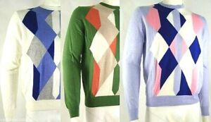 Pullover Maglia Uomo BAGARINY Italy D056 a Scacchi Multicolore Tg M L XL