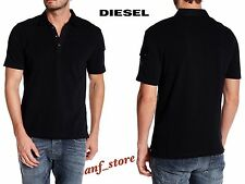 NWT DIESEL Poll Pique Cotton Mens Polo Shirt BLACK M MEDIUM $98