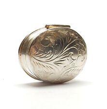 Vintage 925 plata esterlina oval con patrón grabado 16.7g Caja de la píldora venenosa