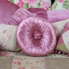Shabby Chic French Country Cushion / Throw Pillow Rose Velvet Round With Rosette