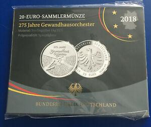 BRD - 20 Euro Sammlermünze 2018 - 275 Jahre Gewandhausorchester Spiegelglanz OVP