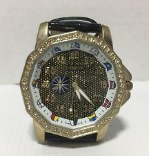 "Mens ""Bling"" Style Geneva Gold and Black. Diamond Replica Watch"