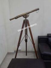 Nautical Brass Antique Finish Telescope Adjustable Brown Tripod Stand Decor