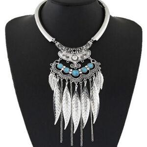 Womens Metal Crystal Necklace Bib Choker Chunky Statement Pendant Chain Jewelry
