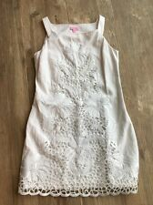 Lilly Pulitzer White Embroidered Lace Eyelet Overlay Shift Princess Dress $390