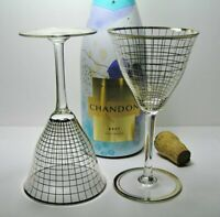 2x VINTAGE Retro 7oz CRYSTAL Wine GLASSES  * GOLD Gilded GRID Pattern * FuNkY!