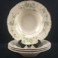 Set of 4 VTG Soup Bowls Syracuse China Mayview Federal Shape Blue Floral USA