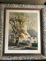 """Large S.F 1955 """"Street And Home Scene"""" Watercoior Painting - Signed And Framed"""