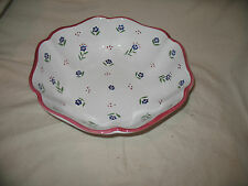 Vintage Cherbourg Shafford Flowered Fruit Serving Large Bowl Made in Italy