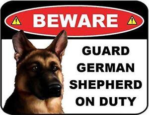 Beware Guard German Shepherd on Duty (v1) 9 inch x 11.5 inch Laminated Dog Sign