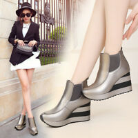 Women Platform High Wedge Heels Sport Shoes Fashion Sneaker Ankle Boots Creepers