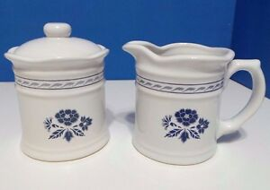 1989 Royal Stratford White Blue Flowers Creamer and Sugar with Lid