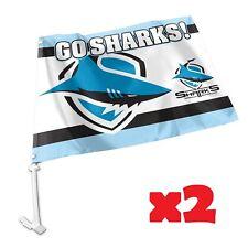 Cronulla Sharks NRL Car Flag 30 cm x 49 cm! 2 Flags for 1 Price!