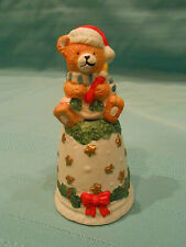 ADORABLE VINTAGE TEDDY BEAR CERAMIC BELL CHRISTMAS ORNAMENT ~ HAND PAINTED