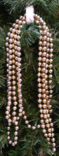"Vintage 1990'S 8 Ft Gold Metallic Beaded Victorian Christmas Tree Garland 5/16"""