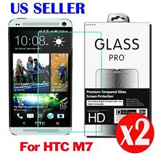 2X High Quality Premium Tempered Glass Screen Protector Film For  HTC ONE M7 HD