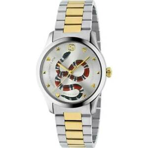 Womens Gucci G-Timeless Iconic Snake Two Tone Silver Gold Watch - YA1264075