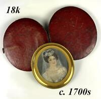 Antique French c1700s Portrait Miniature, Woman in White, Tiara, 18k Frame, Case