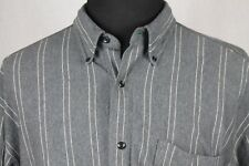 TOMMY HILFIGER Mens Long Sleeved Button Front Gray Striped Casual Shirt sz L