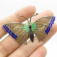 Portugal Antq 925 Sterling Silver Enamel Handmade Filigree Butterfly Pin Brooch