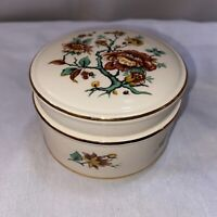 Vintage Sadler England Pottery China Floral Round Trinket Candy Box Gold Trim
