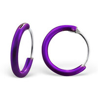 925 Sterling Silver Purple Sleeper Hoop Earrings Kids Girls 10mm Jewellery Gift