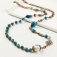 Blue Paragraph Long Chain Stone Agate Jewelry Beaded Beads Necklace
