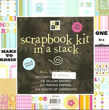 "All Occasion Scrapbook Kit in Stack 8""x`8"" DCWV Stickers Vellum Papers + New"