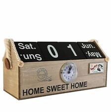 Shabby Chic Perpetual Calendar Blocks & Clock Home Decoration Gift Natural Wood