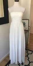 Lulus Strapless Ivory White Embroidered Chiffon Wedding Bridal Shower Party Maxi