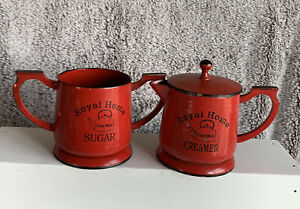 Sugar and Creamer With Lid Red Country Rustic Home Decor Trade Mark