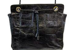 CROC EMBOSSED Handbag Crossbody Shoulder Bag Purse BLACK LEATHER VINTAGE