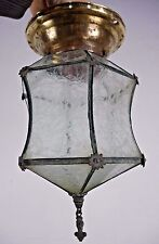 Antique Vintage Light Fixture Curved Glass Early 1900's Flush Fixture