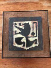 Ceramic Art Tile Mid Century Pottery Amphora Perignem Belgium  Tieberghien  Lion