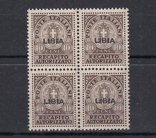 LIBIA 1942  RECAPITO AUTORIZZATO SS n. 4 BLOCCO QUARTINA LUSSO CENTRATO MNH**
